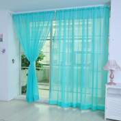 CYCTECH 2 PCS Pure Colour Tulle Door Window Curtain Drape Panel Sheer Scarf Valances