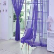 Inverlee 2PCS Pure Colour Tulle Door Window Curtain Drape Panel Sheer Scarf Valances Home Decoration
