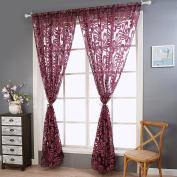 Sheer Curtain Panel,OHTOP European Style Palm Flower Tassel Curtains Panel Window Room 2x2.5M
