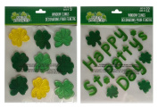 St Patrick's Day Window Decorations Gel Clings Set of Two Sheets Total 31 Stickers