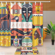 KOTOM African Animal Decorations Collection Africa Woman 180cm X 180cm Mildew Resistant Polyester Fabric Shower Curtain Suit With 40cm x 60cm Flannel Non-Slip Floor Doormat Bath Rugs