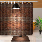 KOTOM Red Brick Wall illuminated by the Ceiling Lamp 180cm X 180cm Mildew Resistant Polyester Fabric Shower Curtain Suit With 40cm x 60cm Flannel Non-Slip Floor Doormat Bath Rugs