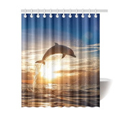 CTIGERS Cute Dolphin Jumping in the Sunset Shower Curtain for Kids Polyester Fabric Bathroom Decor 150cm x 180cm