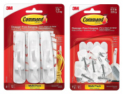 Command Kitchen Utensil Hooks with Command Adhesive Strips - Small, White, 9-Hooks (17067-9ES) With Command Utility Hooks Value Pack, Medium, White, 6-Hooks
