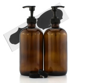470ml Empty Amber Glass Boston Round Bottles w/ Black Lotion Pump Dispensers (2-Pack); Refillable Liquid Soap Pump Brown Bottles + Chalk Labels & Lids, BPA-Free Plastic Tops