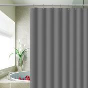 Carttiya EVA Shower Curtain Liner, Waterproof No Chemical Odour Bathroom Curtain with 12 Hooks, Antibacterial Bath Curtain for Dorms, Hotels 180cm x 180cm -Grey