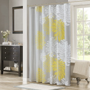Comfort Spaces – Enya Shower Curtain – Yellow, Grey – Floral Printed- 180cm x 180cm