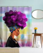 Get Orange Traditional African Black Women With Purple Hair Afro Hairstyle Watercolour Portrait Picture Print Waterproof Mildew Resistant Fabric Polyester Shower Curtain 180cm X 180cm