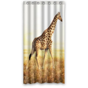90cm x 180cm Inches (Small) Big Cool Giraffe In Grassland New Waterproof Polyester Fabric Curtain