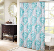 Comfort Spaces – Coco Shower Curtain – Teal and Grey – Printed Damask Pattern- 180cm x 180cm