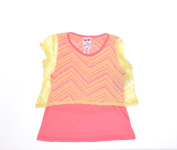Belle Du Jour Coral/Yellow Top Blouse Short Sleeve Size L NWT - Movaz