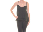 Material Girl Caviar Black Top Blouse Spaghetti strap Size S NWT - Movaz