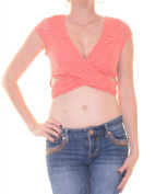 Material Girl Spiced Coral Crop Top Cap Sleeve Size XXS NWT - Movaz