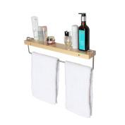 JackCubeDesign Wall Mount Solid Wood Shelf with Towel Rack Bar Holder Bathroom Organiser Hanger – MK245A