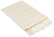 Scents and Feel 100-Percent Canvas Cotton Bicolor Irregular Stripes Hand Loomed Fouta Towels, OffWhite/Taupe