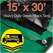 4.6m x 9.1m Heavy Duty Green/Black Reversible 10 Mil Poly Tarp