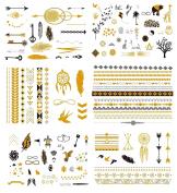 Premium Temporary Tattoos - 125+ Small Tattoos Fake Metallic Minimalist Tattoo Shimmer Jewellery Inspired Boho Designs in Gold, Black, Silver