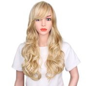 AisiBeauty Long Wavy Hair Wig Synthetic Curly Wigs With Oblique Bangs Women Natural Hair Wigs Heat Resistant Fibre Blonde Big Wave Wig