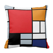 Mondrian Composition With Large Red Plane Pillow Case