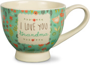 "Pavilion Gift Company 137160cm A Mother's Love-I Love You Grandma"" Floral Soup Bowl Mug, Teal, 500ml"