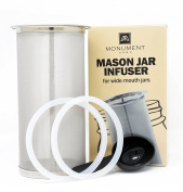 Mason Jar Infuser Filter Fits All Wide Mouth Jars - Spoon and Silicone Rings Included - At Home Cold Brew Coffee Tea Fruit Maker - 150 Micron Mesh - 304 Stainless
