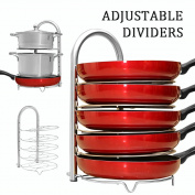 WiseLife Height Adjustable Pan Pot Organiser Rack, 5-Tier Stainless Steel,10, 11 & 30cm Heavy Duty Kitchenware Cookware Pot Rack Holder Kitchen Cabinet Countertop Storage Solution