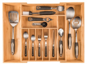 More Compartments, Organic Bamboo Utensil Organiser, Silverware Organiser & Cutlery Tray for Your Kitchen Flatware Drawer, Each Expandable Utensil Tray Comes with 10 Compartments & Free Toaster Tongs