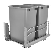 Rev-A-Shelf - 53WC-2150SCDM-217 - Double 47.3l. Pull-Out Silver Waste Container with Soft-Close Slides