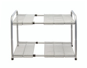 Expandable Under Sink Organiser - 2 Tier Storage Rack With Movable and Customizeable Shelves to Make Space for Pipes - Carbon Steel - By Venoly