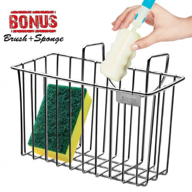 Sponge Holder, Sink Organiser Kitchen Caddy Sink Caddie Stainless Steel Holder Dishwashing Liquid Drainer Rack for Sink Countertop Storage with Sponge and Bottle Brush