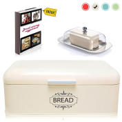 Vintage Bread Box For Kitchen Stainless Steel Metal in Retro Cream Off White + FREE Butter Dish + FREE Bread Serving Suggestions eBook 42cm x 23cm x 17cm Large Bread Bin storage by All-Green Products