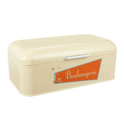 Bread Box for Kitchen - Stainless Steel Bread Bin Bread Box Vintage Storage Container For Loaves, Pastries, and More, Cream, 16.75 x 23cm x 17cm