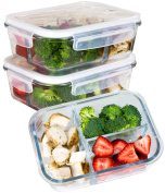 [Premium 3 Pack] 3 Compartment Glass Meal Prep Containers 3 Compartment 6-Piece Set with Snap Locking Lid, BPA-Free, Leakproof, Microwave, Oven, Freezer, Dishwasher Safe