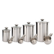 Canister Set Stainless Steel - Beautiful Canisters for Kitchen Counter - 8-Piece Medium Sized with Glass Lids and Measuring Cups - Tea Coffee Sugar Flour Canisters by SilverOnyx - 8pc Glass Lids