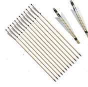 FlyArchery 80cm Self Nocks White Shield Fletching Wooden Arrows with Field Points For Recure or Longbow Hunting Arrows