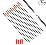 FlyArchery Carbon Arrow 80cm Hunting Arrows With Screw-In Tips For Compound Bow or Recurve