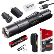Klarus XT2CR 1600 Lumens CREE XHP35 HD E4 LED Multi-mode Dual-switch USB Rechargeable Tactical Flashlight, with 1 x 18650 Battery, Car Charger, Wall Adapter and SKYBEN USB Light