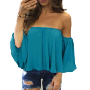Off Shoulder Casual Chiffon Blouse ,Women Long Sleeve Pullover T Shirt