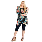 Womens Plus Size T-Shirt ,Three Quarter Sleeve O Neck Printed Casual Blouse