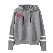 Embroidery Womens Applique Long Sleeve Hoodie Sweatshirt