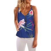 Fashion Women Sleeveless Floral Printed Blouse Casual Tops