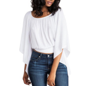 Sexy White Backless Solid Blouse,Women's Loose O-Neck Batwing Sleeve Top