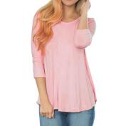 Women Loose Long Sleeve Backless Patchwork Cotton Blend T-Shirt