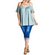 Plus Size T-Shirt ,Womens Short Sleeve Off Shoulder Lace Shirt Casual