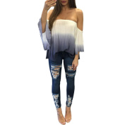 Fashion Off Shoulder Clothes Flare Sleeve Blouse Women Casual Tops