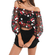 Mesh Sheer Floral Embroidered Shirts See-through Tops Womens Blouses