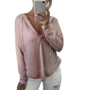 Sexy Women Hoodie V Neck Casual Blouse Long Sleeve Tops