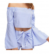 1*Women Blouse+1* Shorts,Women Off Shoulder Stripe Long Sleeve Shirt Casual Blouse+Stripe Butterfly Shorts