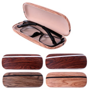 YDZN Portable Glasses Case,Wood Grain Hard Shell Eye Eyewear Box Sunglasses Protector Storage Bag
