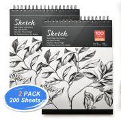 Sketch Book, AGPtEK Art Drawing Pad 9 X 12, 100 Sheets, 60lb/100g, 2 pack